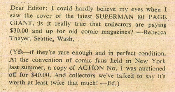 action comics 1 value in 1966