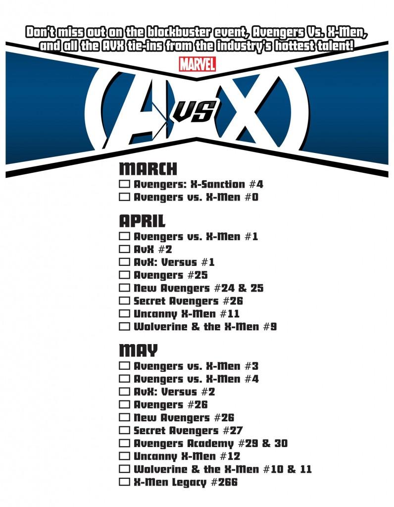 Avengers vs. X-Men Checklist Page 1