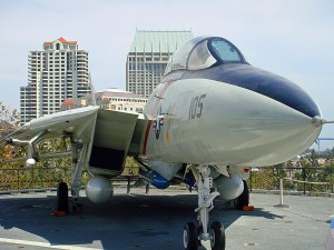 An F-14 Tomcat fighter jet on the deck of the USS Midway.