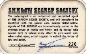 Shadow Secret Society membership card reverse