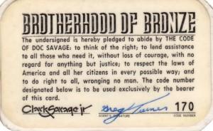 Brotherhood of Bronze membership card back
