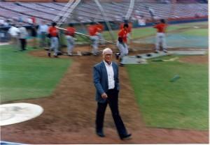 Ernie Harwell in Anaheim, circa 1992