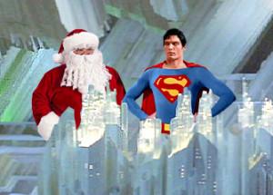 Santa Claus and Superman at the Fortress