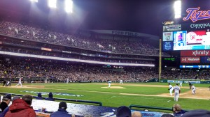 The Boston Red Sox play the Detroit Tigers in the ALCS at Comerica Park