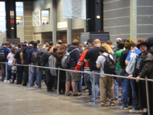 Saturday's Crowd Waits to Enter