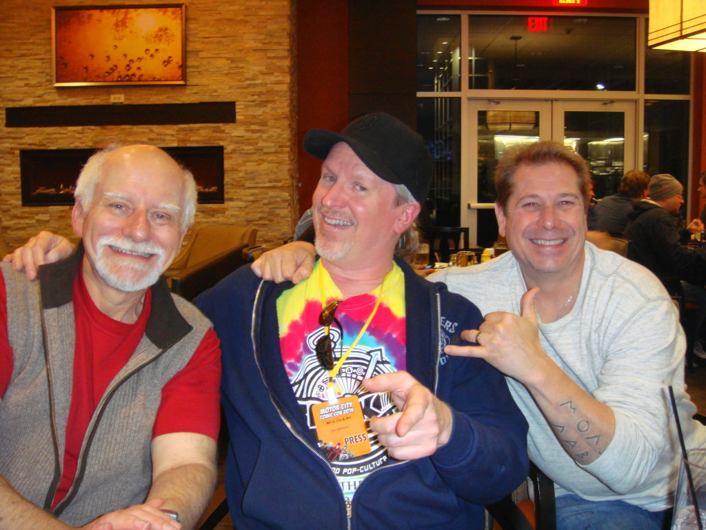 Chris Claremont, JJ, and Billy Tucci hang out at dinner.