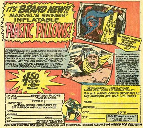 1968 Marvel inflatable  pillows ad
