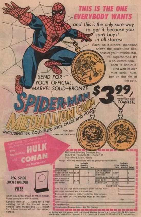 1970s Spider-Man medallion ad