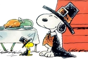 Snoopy and a REAL Thanksgiving feast. No, not Woodstock.
