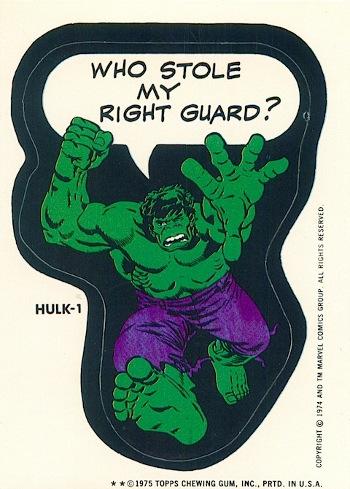 1975 Marvel Topps Hulk 1 sticker