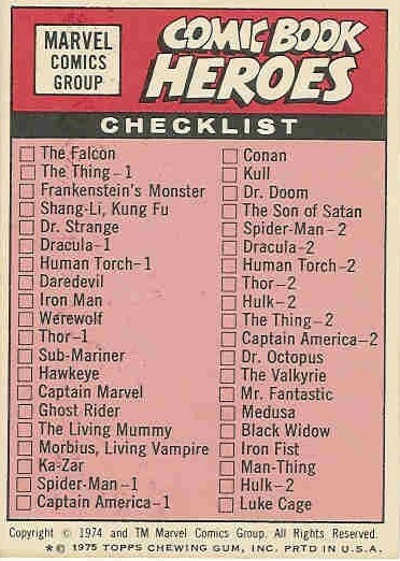 1975 Topps Marvel Stickers Checklist