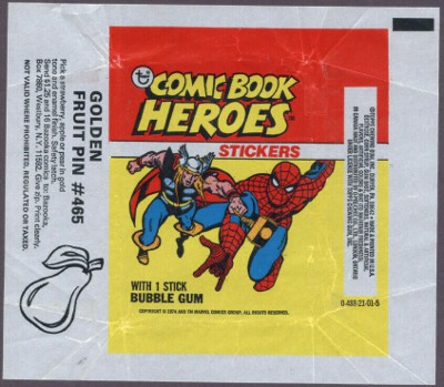 1975 Topps Marvel Stickers wrapper