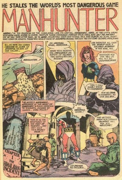 Detective Comics # 437 pg 1 of Manhunter story