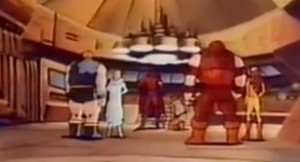 The Blob, White Queen, Magneto, Toad, Juggernaut, and Pyro, in the only shot of the entire team in the 22 minute special.