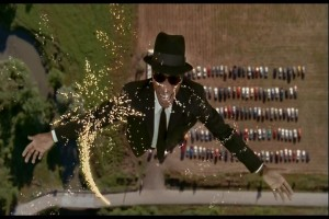 This is an Illinois State Trooper being magically lifted 1000 feet in the air and transformed into a Blues Brother by the power of God. He's later turned into a zombie by a voodoo witch. It's a weird movie.