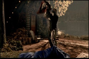Jason murdering one holographic camper by beating them with another one, AKA The Literal Best Kill Ever.