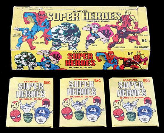 1966 Marvel Donruss SUper Hero card box & packs