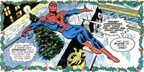 Spider-Man Christmas panel by Ross Andru