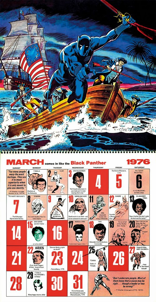 Marvel 1976 Bicentennial Calendar March by Bob Brown
