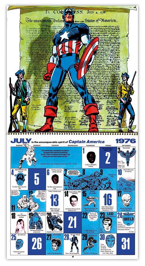 Marvel 1976 Bicentennial calendar July by John Romita Sr