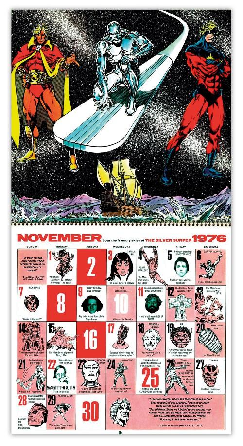 Marvel 1976 Bicentennial calendar November by Jim Starlin