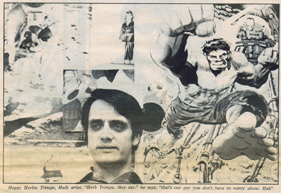 Picture of Herb Trimpe from Rolling Stone 09-16-1971 by D E Leach