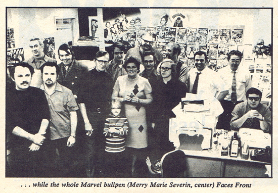 Picture of the Marvel Bullpen by D E Leach from Rolling Stone 09-16-71