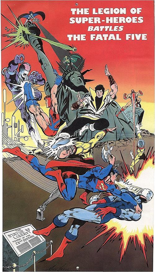 1977 DC Calendar Legion Centerspread by Mike Grell