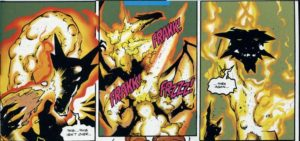 Fing Fang Flame's death, handled with the trademark humor of Christopher Priest.