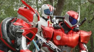 L to R: Kamen Riders Drive, Mach, and Accel.